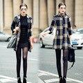 Venta caliente Del Invierno Del Otoño mujeres de la chaqueta de abrigo de lana 2016 Nueva moda Tres Quartar plaid Collar de Bolas de pelo de lana abrigos mujer XXL