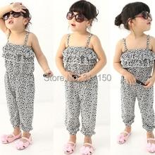 Модные летние комбинезоны для девочек; Детские пляжные Комбинезоны из чистого хлопка с тонкими лямками; леопардовые комбинезоны;