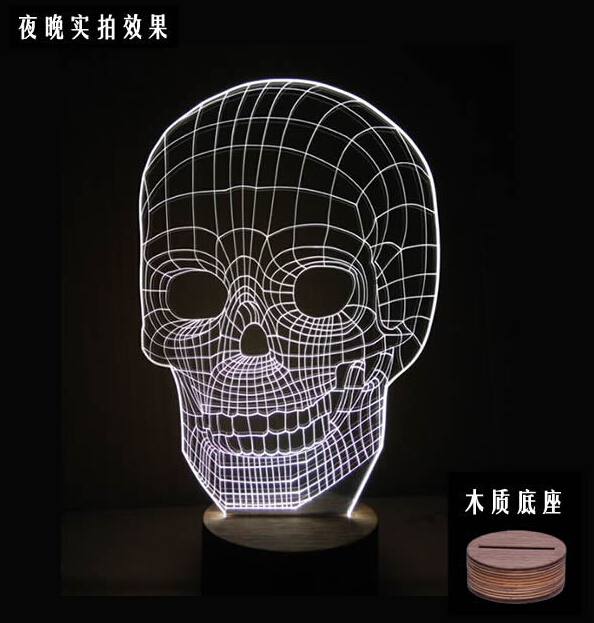 optical illusion 3d skull light is a great nightlight or an excellent halloween light decoration