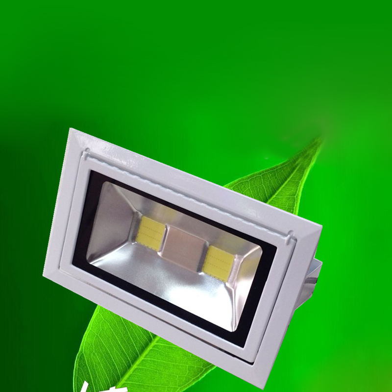 LED Downlights 50W COB Rectangular Recessed Ceiling Down Light 130-140lm/w Rotatable Adjustable Downlight Indoor Lighting