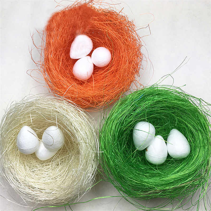 Easter Decorations for Home Nature Raffia Gift Box Pakage Decor Wedding DIY Egg Birds Nest Art Craft Wrapping Supplies 2019