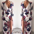 Hot sexy Chinese style deep V-neck printing women slim dresses with sashes New Year promotion