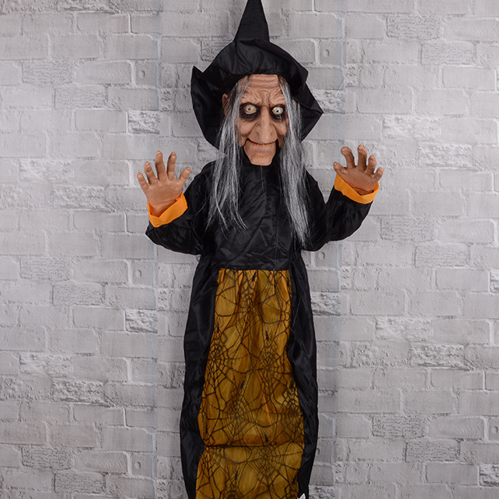 Voice/ Touch Controlled Halloween Hanging Witch Creepy Scary Animated Halloween Party Decor Ghost Indoor Outdoor Decoration 3