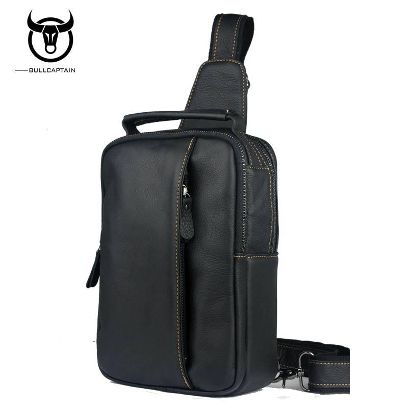 BULLCAPTAIN 2018 Men Genuine Leather Chest Back Pack Travel fashion Male Messenger Shoulder Bag Bolsa de hombres masculina Sac