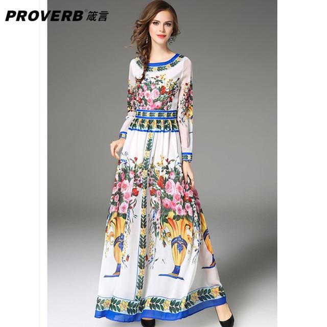 0b3f65b209f PROVERB Boho Women Maxi Dress Floral Round Neck Long Sleeve Spring Autumn Swing  Dress Evening Party Vestidos Bigger Size