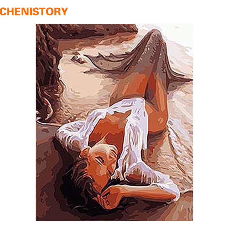 CHENISTORY Beautiful Sexy Women DIY Painting By Numbers Kits Coloring Painting On Canvas Handpainted Home Decor Wall Artwork