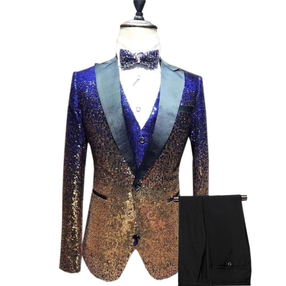 3 pièces brillant Sequin hommes costume Slim Fit un bouton pic cran revers smoking pour fête mariage Banquet discothèque Blazer + gilet + pantalon