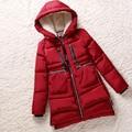Высокое Качество Нового 2016 Мода Вниз Хлопок Плюс Размер Женщин Сплошной Цвет Зимние Куртки и Пальто Женщина Верхняя Одежда Ремни