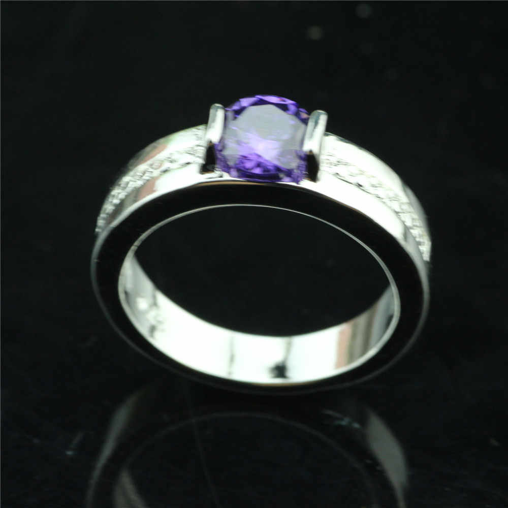 925 סטרלינג כסף טבעת עגול קריסטל יוקרה פשוט נשי טבעת חדש אירוסין מתנה
