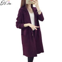 2016 Winter Long Sweater Coat For Women Turn Down Formal Long Cardigans Christmas Sweaters Oversized Coat