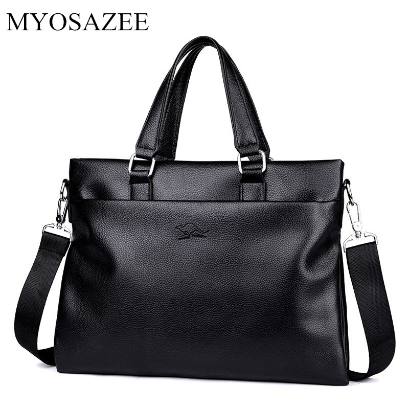 MYOSAZEE Men Briefcase PU Leather Laptop Bag Men Messenger Bags Travel Business Male Simple Shoulder Bags Casual Tote