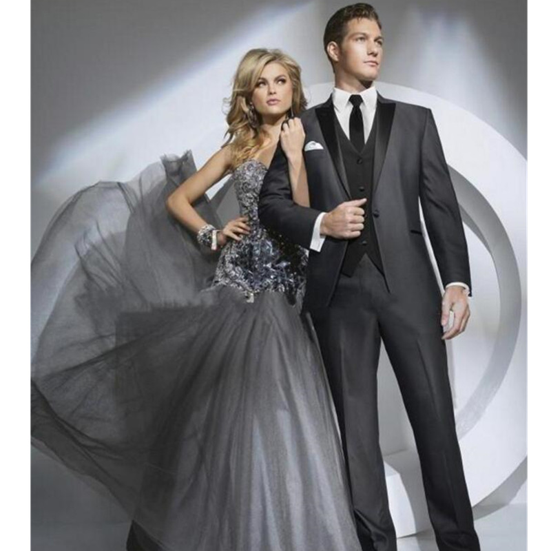 New Design handsome men suits One Button Charcoal Grey Groom suits ...