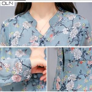 Image 5 - Hong Kong stil 2019 frühling neue Koreanische version der dünne gedruckt lange ärmeln lange chiffon floral kleid