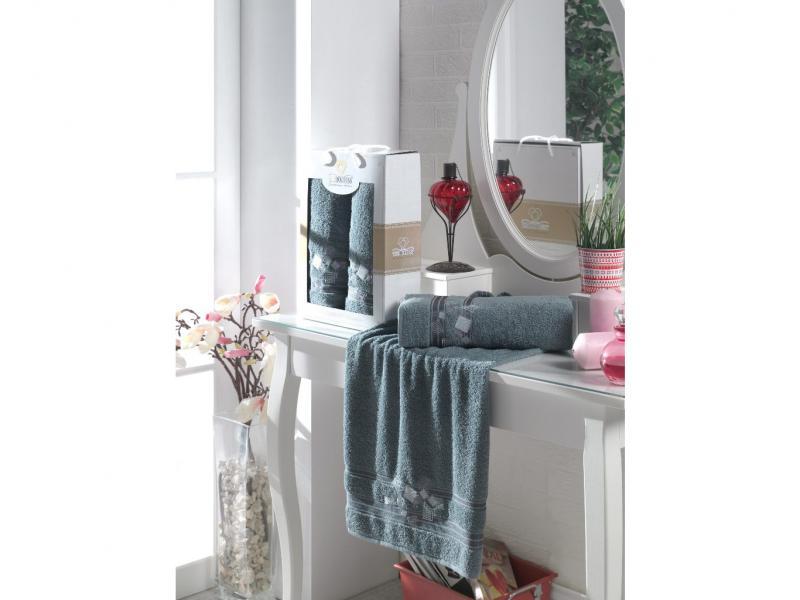 Towel set TWO DOLPHINS, Class Cotton, 2 subject, dark gray basic cotton towel 1pc