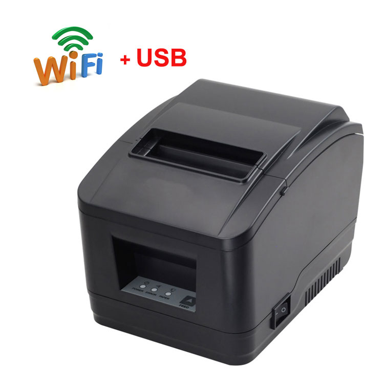 80mm Auto Cutter WIFI+USB Port Receipt Printer Bill Printer Support QR Code For Kitchen Printer WIFI Printer