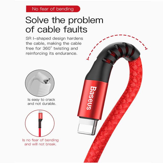 Cable USB para iPhone XS Max XR 8X8 7 6 5 5S de coche rápido cargador