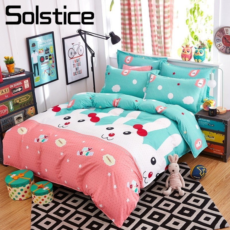 Solstice Pillowcase Twin-Bedding-Sets Bunny Rabbit Quilt-Cover Duvet Linen Textile-King