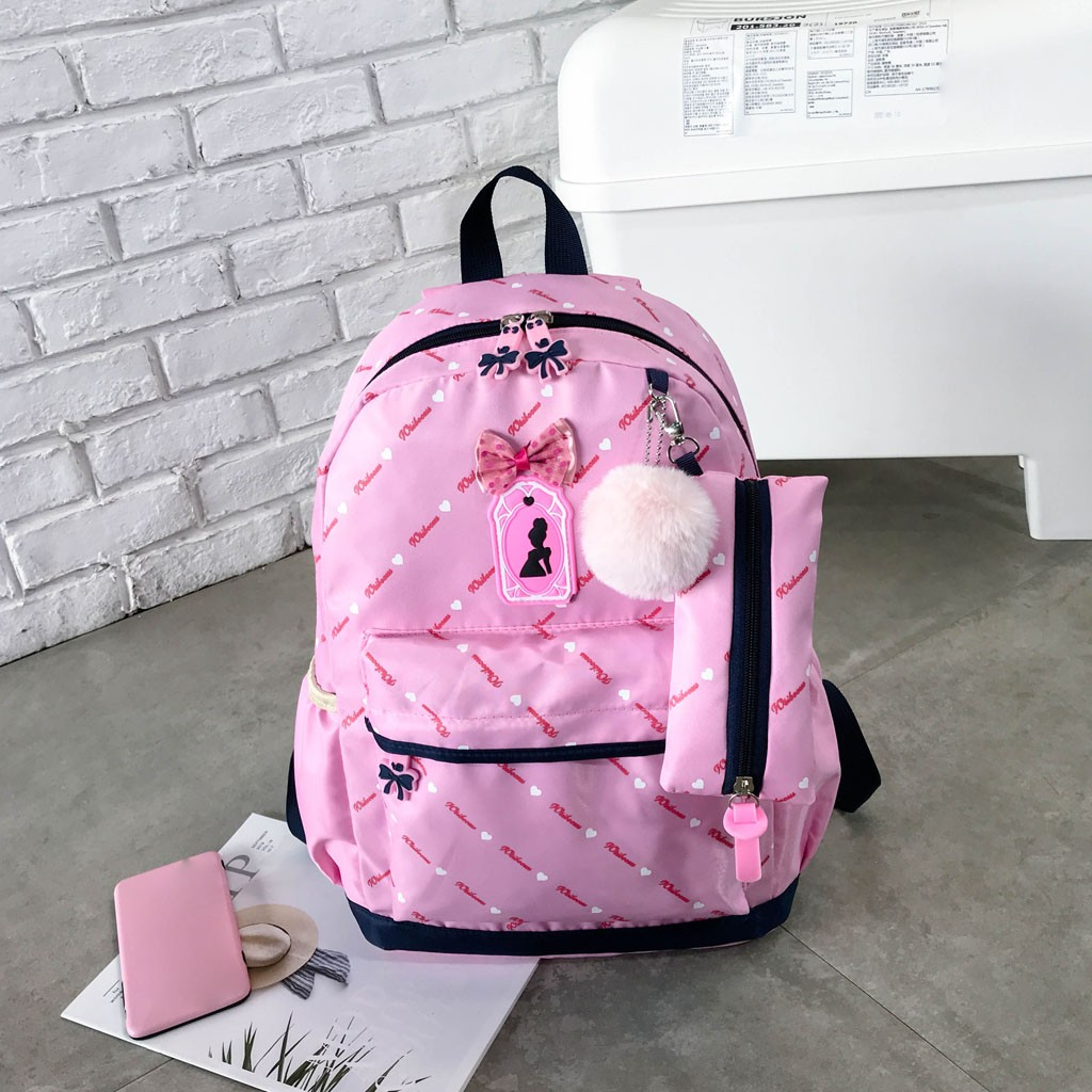 Women Bow Canvas Three-piece School Bag 18