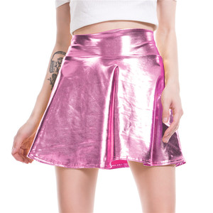 Image 3 - Womens Shiny Mini Skirt 2019 Metallic Wet Liquid Faux Leather Look Flared Pleated A Line Circle Solid Skater Skirts 7 Colors