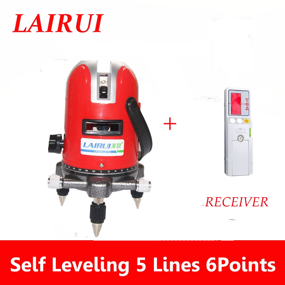 lairui brand 5 lines 6 points laser level 360 degree rotary cross laser line level 635nm with outdoor receiver detector laser cast line instrument marking device 5 lines the laser level