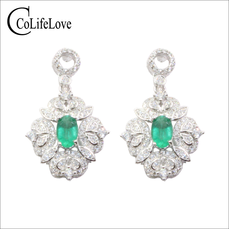 CoLife Jewelry vintage 925 silver emerald drop earrings for wedding 100 natural Zambia emerald earrings silver