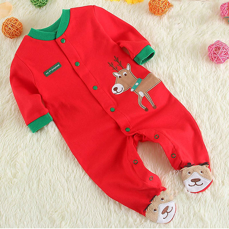 2019 New Style 2018 Christmas Baby Boys G Irls Footie Red My First Christmas Elk Footie Newborn Baby Long Sleeves Holidays Clothing