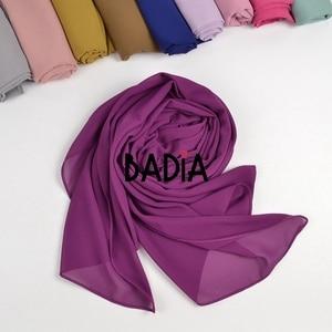 Image 3 - 10pcs/lot high quality women muslim chiffon scarf islamic georgette scarfs shawls headwear long wraps solid plain chiffon hijabs