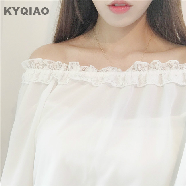 Kyqiao Lolita Lace Shirt 2019 Mori Girls Autumn Spring Japanese Stye Sweet Kawaii Long Sleeve Slash Neck White Black Lace Blouse Women's Clothing