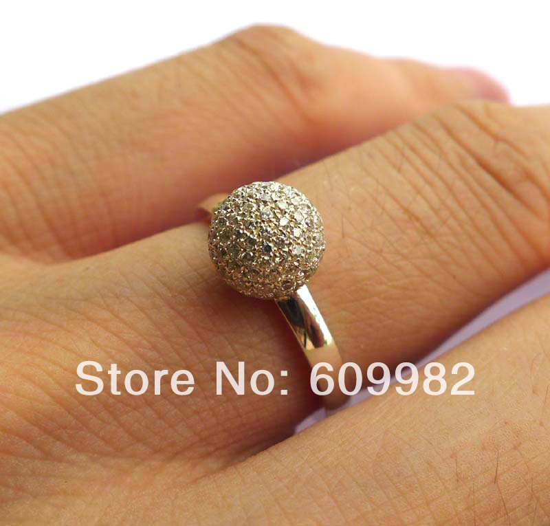 Solid 925Sterling Silver&CZ Ball Ring цена