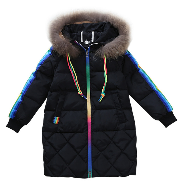 Special Offers Rlyaeiz Children's Coat 2018 Autumn Winter Jacket For Girls Fashion Striped Kids Mid-long Fur Collar Hooded Warm Parka Outwear