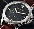 Мужские механические часы Parnis  повседневные автоматические часы 44 мм с кожаным ремешком  5 бар