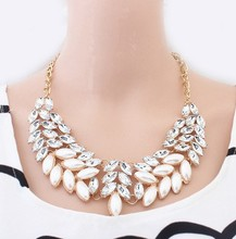 Fashion Rhinestone Choker Necklaces For Women Pearl Chunky Collares Jewelry Party Wedding Christmas Gift Drop shipping Jewellery