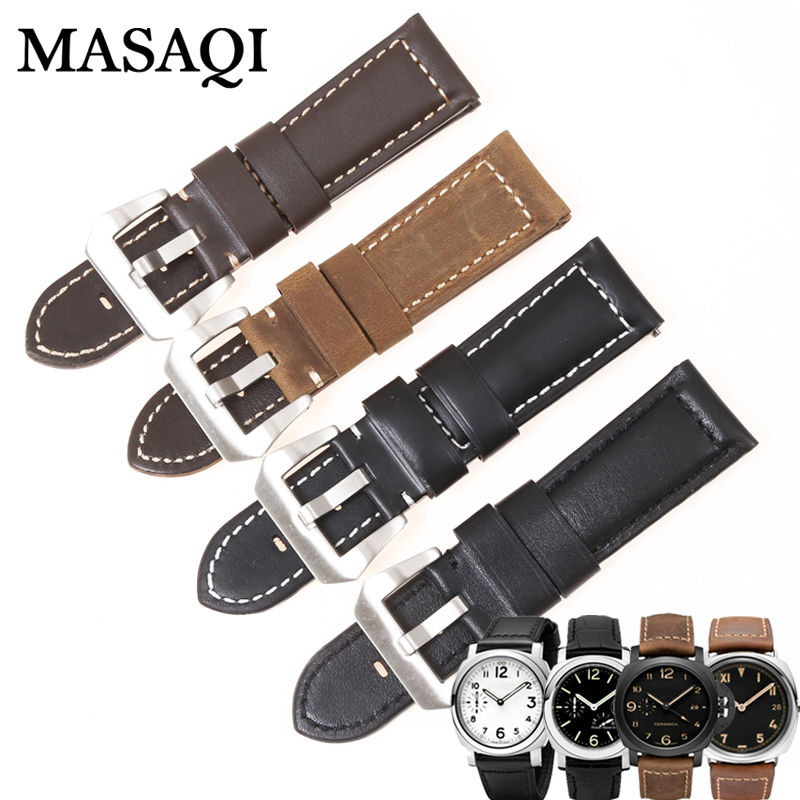 MASAQI Genuine Leather Watchband Strap for Panerai PAM Luminor Radiomir Watch Band Wrist Belt 24mm 24mm silicone rubber watch band for panerai luminor radiomir stainless steel pam buckle strap wrist belt bracelet