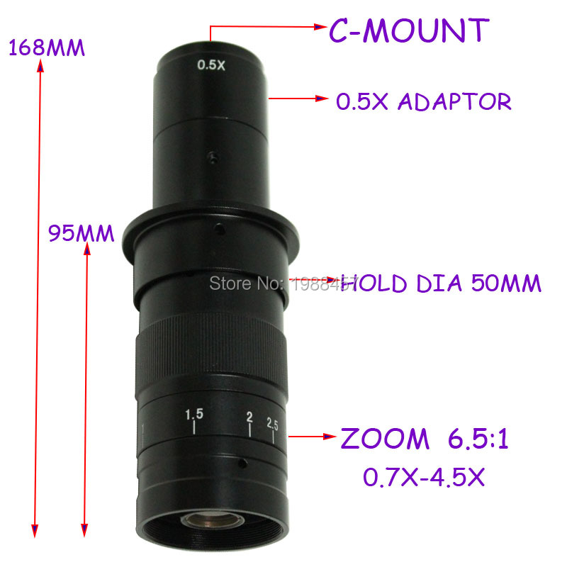 Free Shipping 10X~180X Adjustable Magnification 25mm Zoom C-mount Lens 0.7X~4.5X Industry Microscope Camera Eyepiece Magnifier цена