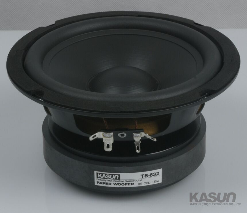 2PCS Kasun TS-632 6inch Woofer Speaker Driver Unit Large Magnet Black PP Cone Deep Rubber Surround Fs=40Hz 8ohm 130W D167mm 2pcs kasun qa 8100 8inch woofer speaker driver unit paper cone 8ohm 140w dia 218mm fs 45hz