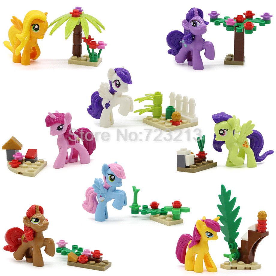 8pcs/set Cute Cartoon Girl My Little Horse Figure Set Bricks Building Blocks Gift Collection Kits Toys for Children SY682