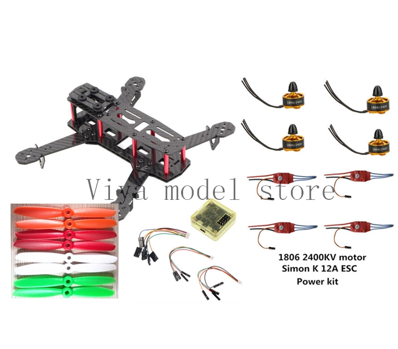 DIY FPV mini drone ZMR250 frame kit pure carbon fiber frame+1806 2400KV motor +Simon K 12A ESC +CC3D +5045 ABS propellers diy carbon fiber frame arm with motor protection mount for qav250 zmr250 fpv mini cross racing quadcopter drone