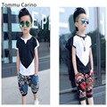 Новый Бренд Корейский Стиль Дизайнер дети 2016 Летняя Мода мальчик т рубашка белый черный высокое качество футболки для детей мальчиков одежда