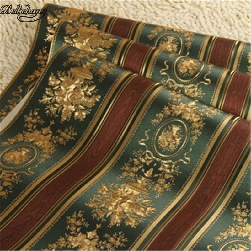 Beibehang European Luxury Gold Foil Wallpaper 3D Floral
