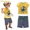 Kindstraum Мальчиков Одежда Устанавливает Хлопок Летние Дети Пляж Ткань Осьминог футболка Полосатый Шорты Брюки Casual Спортивный Костюм для Детей, MC403
