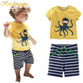 Kindstraum boys que arropa niños playa paño pulpo camiseta a rayas de algodón de verano shorts pantalón traje casual para niños, mc403