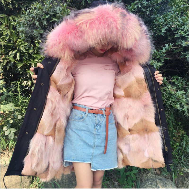 New 2017 Big Raccoon Fur Collar Bomber Jacket Women Winter Fashion Real Wolf Fur Liner Removable Hooded Parkas Female Army Coat printed long raccoon fur collar coat women winter real rabbit fur liner hooded jacket women bomber parka female ladies fp896