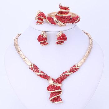 Złoty kolorowy naszyjnik kolczyki bransoletka zestaw pierścieni koraliki afrykańskie zestawy biżuterii moda kryształ kryształ górski koraliki akcesoria ślubne tanie i dobre opinie PLANT Klasyczny OUHE Zestawy biżuterii dla nowożeńców WDM-TL40038 necklace bracelet earring ring Ślub Ze stopu cynku