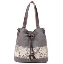 Kadın askılı omuz çantası yeni ulusal tarzı kanvas çanta ve retro baskılı çantası yıpranmış tarafından Sen kadın bölümü