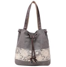 Womens shoulder bag the new national style canvas bag and retro printed bag are worn by the Sen womens department