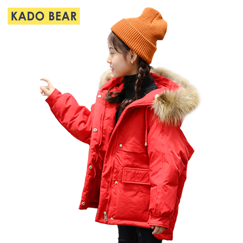 2018 New Girls Down Thick Coats Baby Girl Fur Collar Winter Boy Warm Jackets Children Hooded Coat Kids Clothes Fashion Outerwear weixu fashion girls winter coat kids outerwear parka down jackets hooded fur collar outdoor warm long coats children clothing