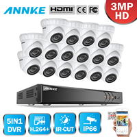ANNKE 16CH 3MP CCTV System HD TVI DVR 16PCS 2048*1536 TVI Security Dome Camera Outdoor CCTV Camera Home Video Surveillance Kit