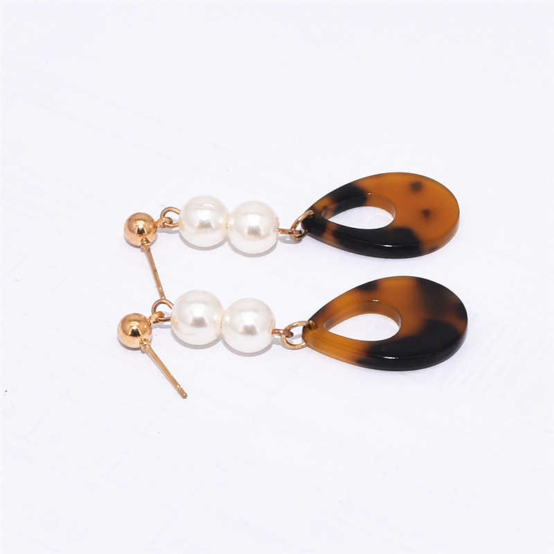 Hot Sale Fashion Simulated Pearl Beaded Leopard Print Resin Brown Red Gray Green Water Drop Dangle Earrings for Women Jewelry