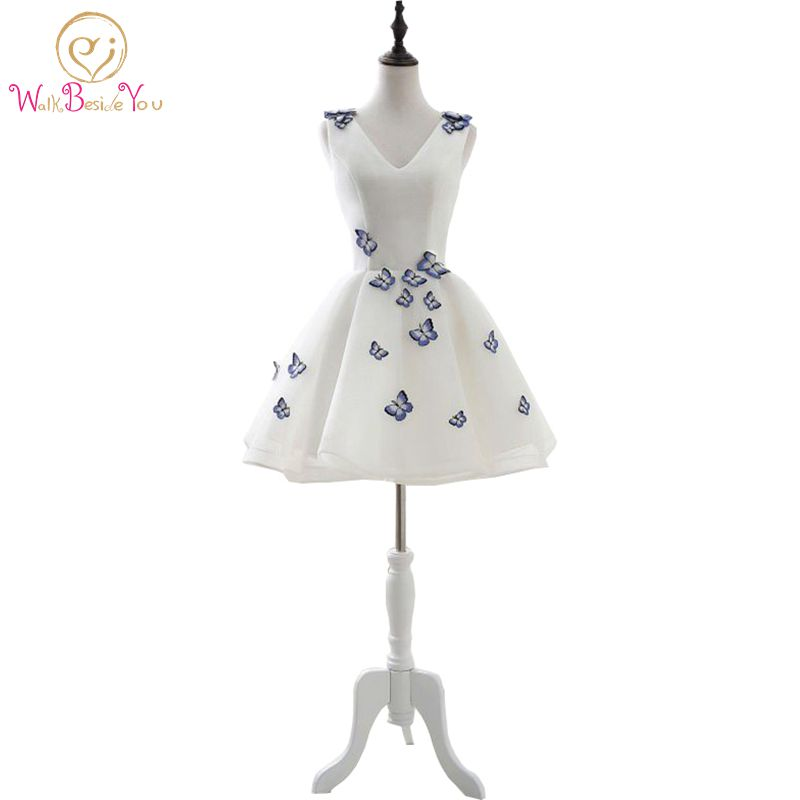 In Stock Elegant V Neck Simple Ball Gown Prom Dresses Short Evening Party Gown Graduation Sleeveless with Butterfly Applique