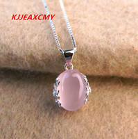 KJJEAXCMY 925 Sterling Silver Pendant, retro palace pattern Korean version, fashion natural Hibiscus Stone Pendant
